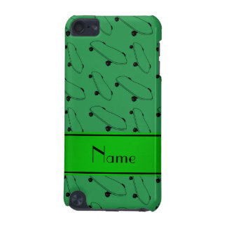 Personalized name green skateboard pattern iPod touch 5G covers