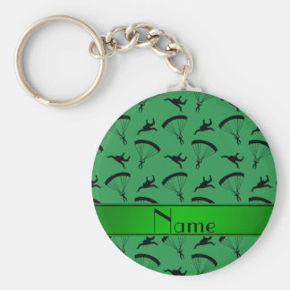 Personalized name green skydiving pattern basic round button key ring