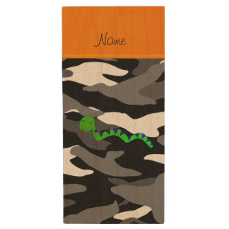 Personalized name green snake black camouflage wood USB 2.0 flash drive