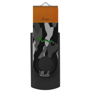 Personalized name green snake black camouflage swivel USB 2.0 flash drive