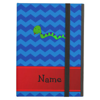 Personalized name green snake blue chevrons cover for iPad air