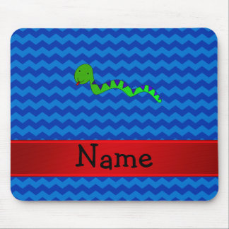 Personalized name green snake blue chevrons mouse pads