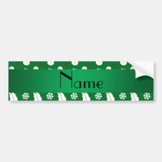 Personalized name green snowman christmas bumper stickers