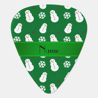 Personalized name green snowman christmas pick