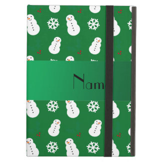 Personalized name green snowman christmas iPad cases