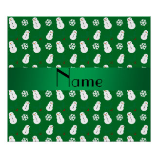 Personalized name green snowman christmas posters