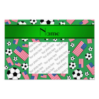 Personalized name green soccer american flag photo
