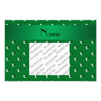 Personalized name green soccer balls photo print