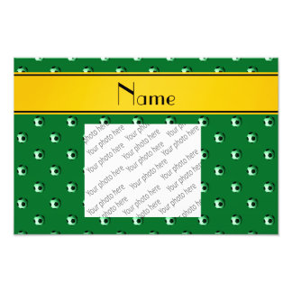 Personalized name green soccer yellow stripe photo print