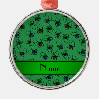 Personalized name green spiders christmas ornament