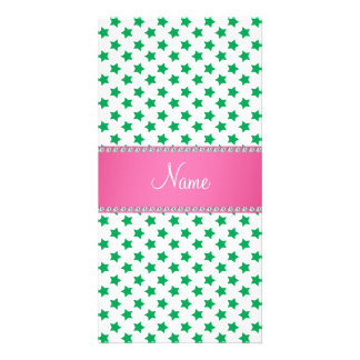 Personalized name green stars pink stripe photo card