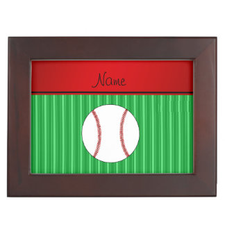 Personalized name green stripes baseball memory boxes