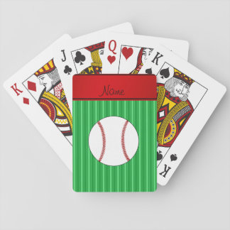 Personalized name green stripes baseball playing cards