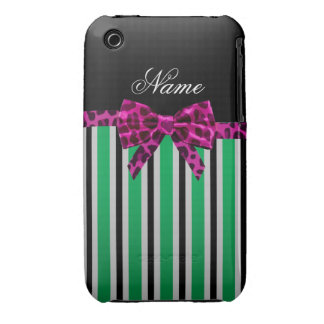Personalized name green stripes pink leopard bow iPhone 3 covers