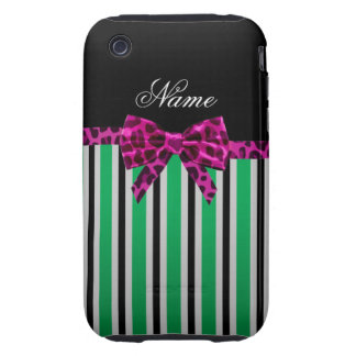 Personalized name green stripes pink leopard bow tough iPhone 3 cases