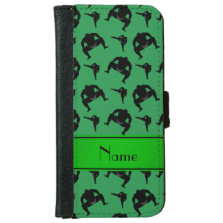 Personalized name green sumo wrestling iPhone 6 wallet case