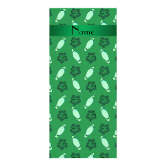 Personalized name green surfboard pattern full colour rack card