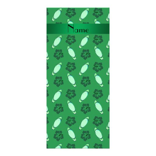 Personalized name green surfboard pattern full color rack card