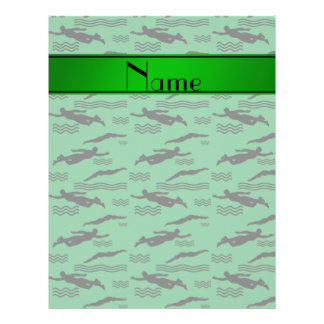 Personalized name green swimming pattern 21.5 cm x 28 cm flyer