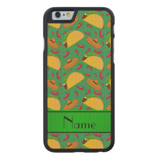 Personalized name green tacos sombreros chilis carved® maple iPhone 6 case