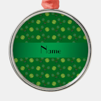 Personalized name green tennis balls Silver-Colored round decoration