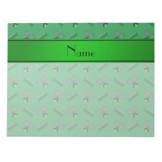 Personalized name green tennis rackets and nets notepad