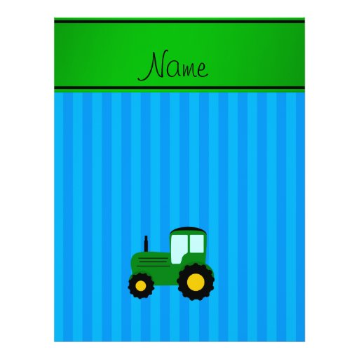Personalized name green tractor blue stripes flyer design