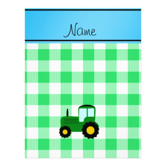 Personalized name green tractor green checkers personalized flyer