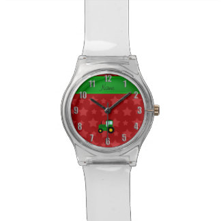 Personalized name green tractor red stars wristwatches