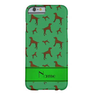 Personalized name green Vizsla dogs Barely There iPhone 6 Case