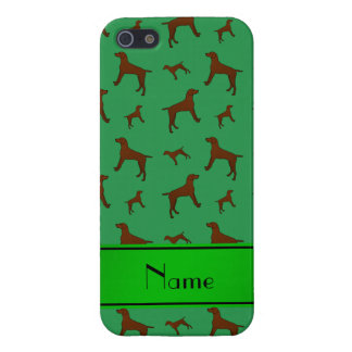 Personalized name green Vizsla dogs iPhone 5/5S Cover