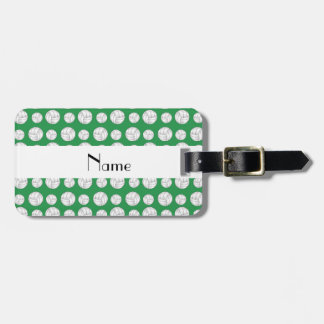 Personalized name green volleyball balls luggage tag
