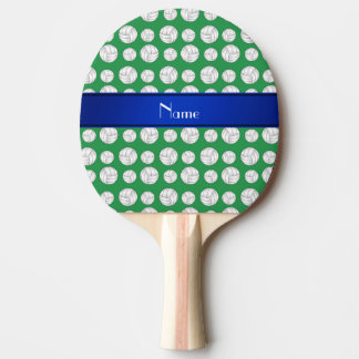 Personalized name green volleyball blue stripe ping pong paddle
