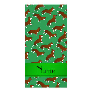 Personalized name green welsh corgi cardigan dogs personalised photo card