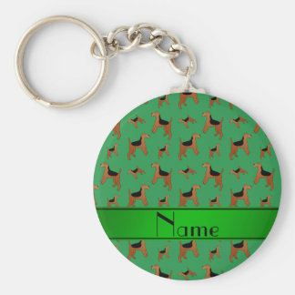 Personalized name green Welsh Terrier dogs Basic Round Button Key Ring