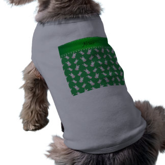 Personalized name green white bunnies dog tshirt