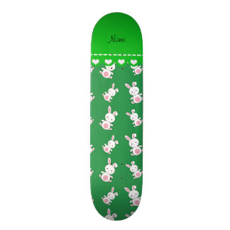 Personalized name green white bunnies skateboards