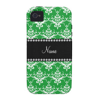 Personalized name green white damask Case-Mate iPhone 4 cover