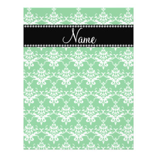 Personalized name green white damask personalized flyer