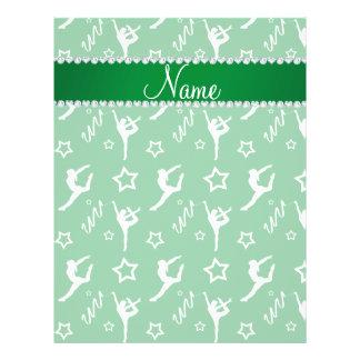 Personalized name green white gymnastics stars 21.5 cm x 28 cm flyer