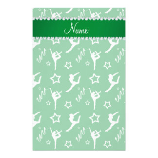 Personalized name green white gymnastics stars stationery