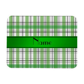 Personalized name green white plaid rectangle magnet