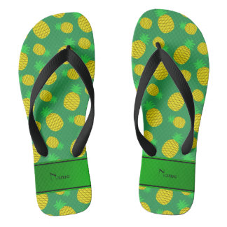 Personalized name green yellow pineapples flip flops