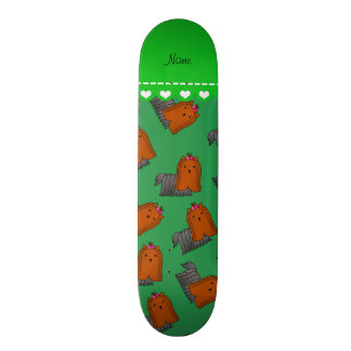 Personalized name green yorkshire terriers 21.6 cm old school skateboard deck