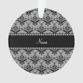 Personalized name Grey black damask