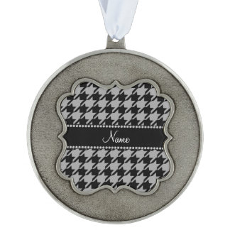 Personalized name grey black houndstooth scalloped pewter ornament