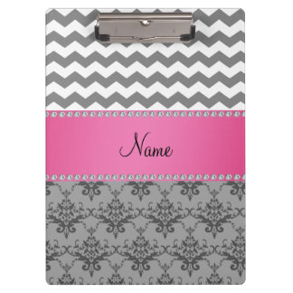 Personalized name Grey damask grey chevrons Clipboards