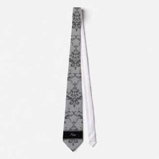 Personalized name Grey damask Neck Tie