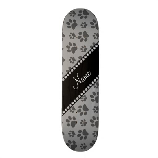 Personalized name grey dog paw prints custom skate board