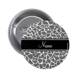 Personalized name grey giraffe pattern 6 cm round badge